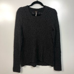 Free People Cable Knit Tunic Sweater Gray